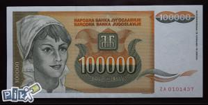 YU - 100.000 - 1993 - aUNC - ZA