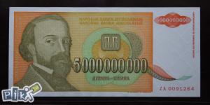 YU - 5 milijardi - 1993 - aUNC - ZA