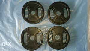 Olimpijski tegovi gumirani sa rukohvatima 5kg