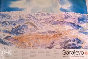 Olimpijska mapa poster Sarajevo 84 - Rijetko !